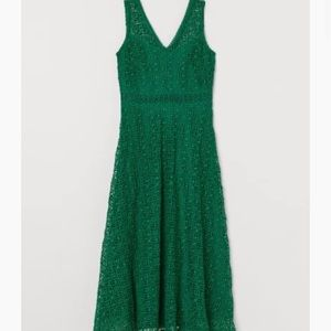 Green H&M lace V-Neck Dress